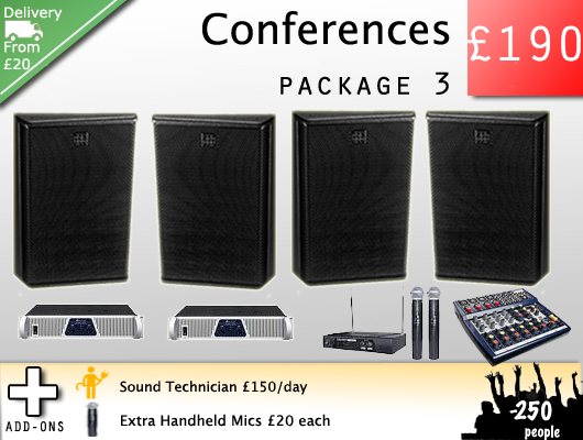Hire a sound system for speeches, talks, lectures, conferences and recitals